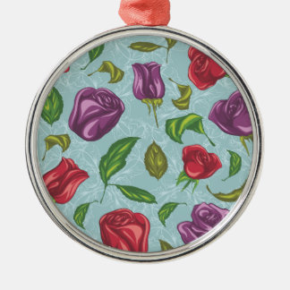 Purple and Red Roses Illustrations Silver-Colored Round Decoration