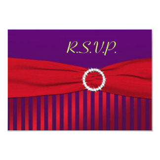 Purple and Red Striped Reply Card 9 Cm X 13 Cm Invitation Card