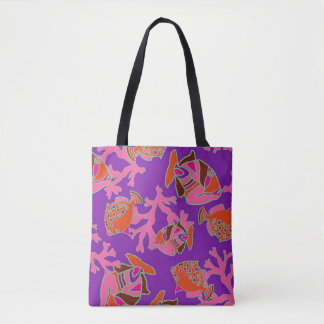 Purple and Red Tropical Fish Beach Tote Bag