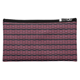 Purple and Red Wave Cosmetic Bag