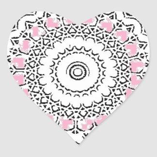 Purple and Rose Doily Heart Sticker