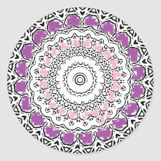 Purple and Rose Doily Round Sticker