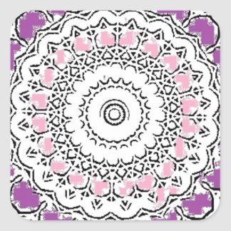 Purple and Rose Doily Square Sticker