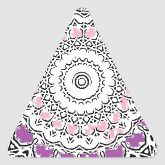 Purple and Rose Doily Triangle Sticker