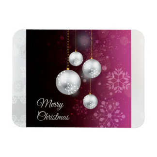 Purple and silver christmas tree balls rectangle magnets