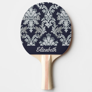 Purple and Silver Damask Personalized Paddle