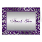 Purple and Silver Damask Swirls Thank You Card