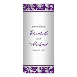 Purple and Silver Damask Swirls Wedding Program Rack Card