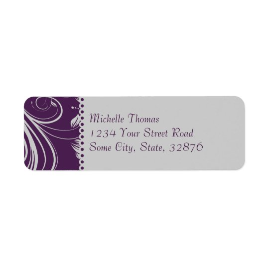 Purple and Silver Floral Swirls Wedding Address Return Address Label