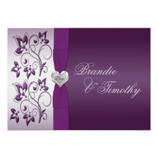 Purple and Silver Floral Wedding Invitation