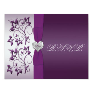 Purple and Silver Floral with Silver Heart RSVP 11 Cm X 14 Cm Invitation Card