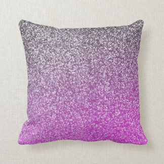 Purple and Silver Glitter Ombre Look Girly Glam Cushion