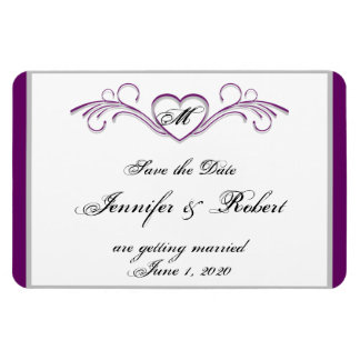 Purple and Silver Heart Monogram Save the Date Magnet