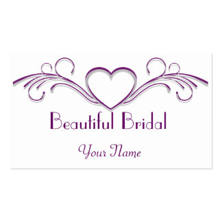 Purple and Silver Heart Scroll Business Card