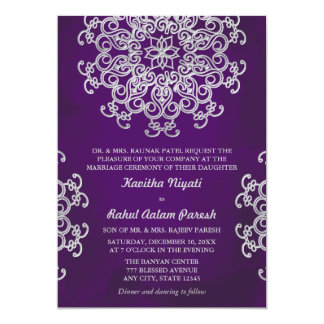 PURPLE AND SILVER INDIAN STYLE WEDDING INVITATION