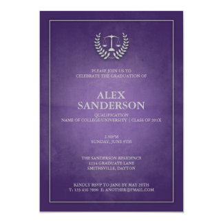 Purple and Silver Law School Graduation 13 Cm X 18 Cm Invitation Card