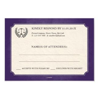Purple and Silver Legal/Law School Graduation RSVP 9 Cm X 13 Cm Invitation Card