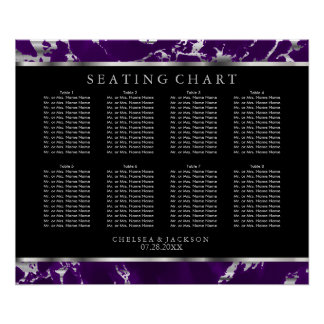 Purple and Silver Marble - Seating Chart Poster