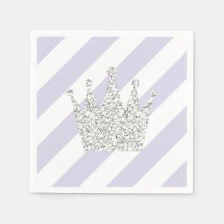 Purple and Silver Princess Crown Napkins Paper Napkin