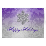 Purple and Silver Shimmer Damask Holiday Card