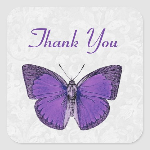 Purple and Silver Vintage Butterfly Thank You V09 Sticker