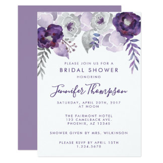 Purple and Silver Watercolor Floral Bridal Shower Card