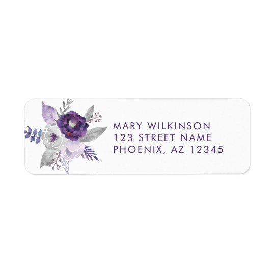 Purple and Silver Watercolor Floral Wedding Return Address Label