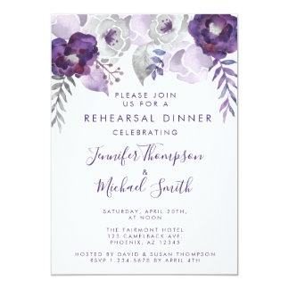 Purple and Silver Watercolor Rehearsal Dinner Card
