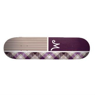 Purple and Tan Plaid Skate Deck