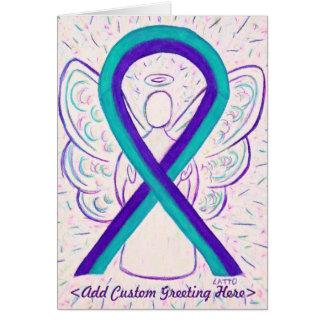 Purple and Teal Awareness Ribbon Art Greeting Card