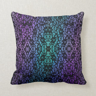 Purple and Teal Black Lace Gothic Pillow