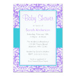 Purple and Teal Blue Damask Baby Shower 13 Cm X 18 Cm Invitation Card
