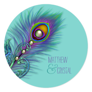 Purple and Teal Blue Peacock Wedding Personalized Announcements