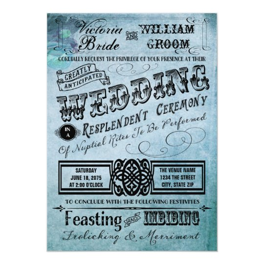 Purple and Teal Blue Vintage Typography Wedding Card