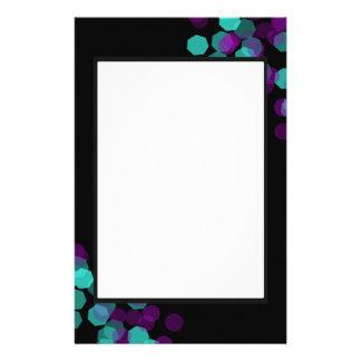 Purple and Teal Bokeh Customized Stationery
