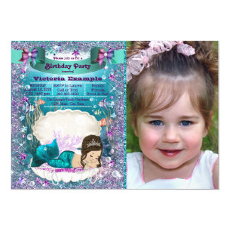Purple and Teal Brunette Mermaid Birthday Party 13 Cm X 18 Cm Invitation Card