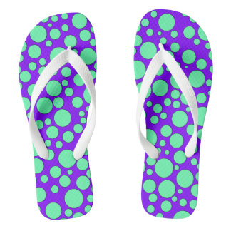 PURPLE AND TEAL BUBBLES FLIP-FLOP THONGS
