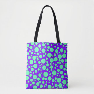 PURPLE AND TEAL BUBBLES TOTE BAG