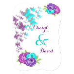 "Purple and Teal Butterflies and Whimsical Flowers 5"" X 7"" Invitation Card"