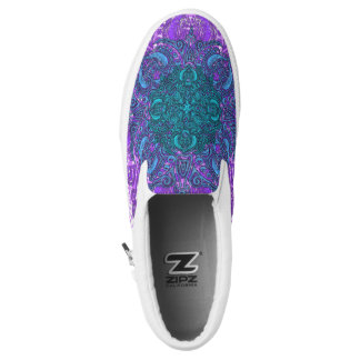 Purple and Teal Fleury Slip-On Shoes