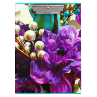 """Purple and Teal Floral"" Clipboard"