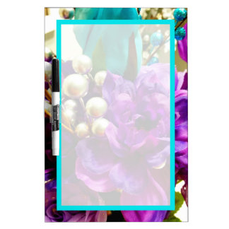 """""""Purple and Teal Floral"""" Dry Erase Board"""
