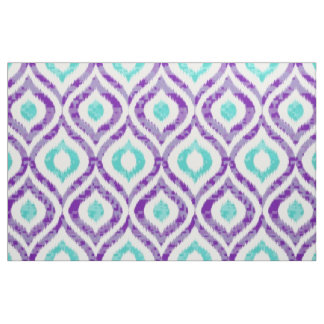 Purple and teal ikat pattern fabric