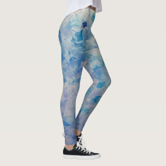 Purple and teal impressionism patterned leggings