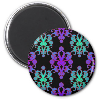 Purple and Teal over Black Damask Style Pattern 6 Cm Round Magnet