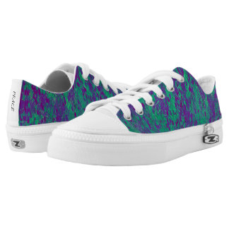 Purple and Teal Pattern Low Top Canvas Shoes