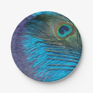 Purple and Teal Peacock 7 Inch Paper Plate