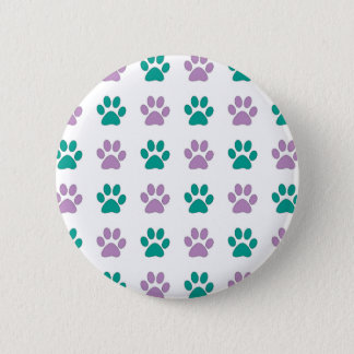 Purple and teal puppy paw prints 6 cm round badge