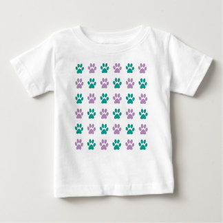 Purple and teal puppy paw prints baby T-Shirt