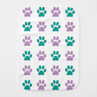 Purple and teal puppy paw prints burp cloth
